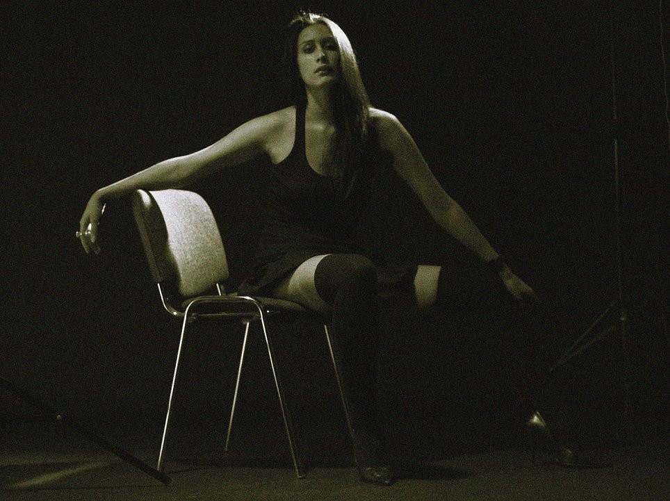 Model shot wearing thigh length stockings sitting on chair