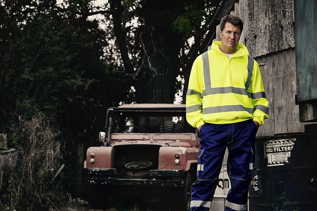 Hi Vis workwear photograph with model