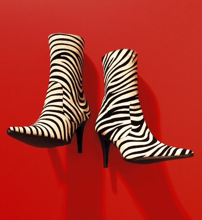 Zebra pattern ladies ankle boots shot against a vivid red background